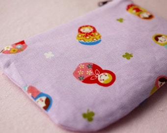 Russian doll mini zipper pouch (Purple)