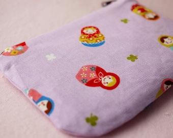 Russian doll mini zipper pouch (Purple)