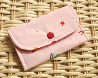 Matroyshaka Doll and flower Mini Snap Wallet(Pink)