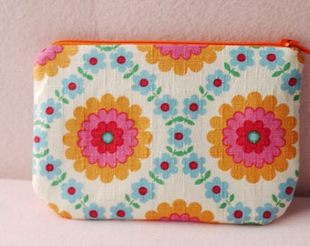 Floral mini zippered pouch (blue)