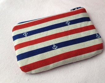 Chic Anchor Mini Zipper Pouch (blue)