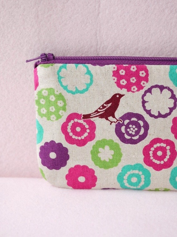 Flower Bird Mini Zipper Pouch