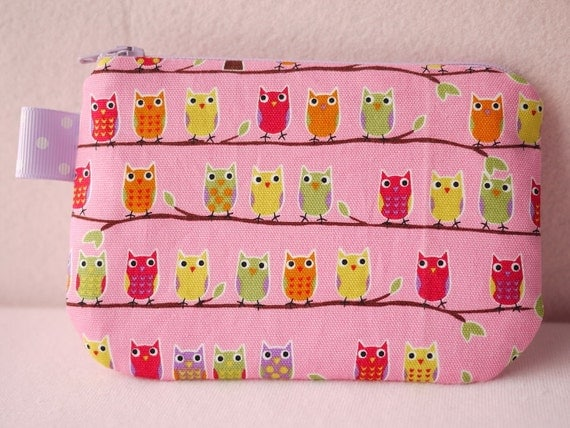 Colorful Owl mini zipper pouch (Pink)
