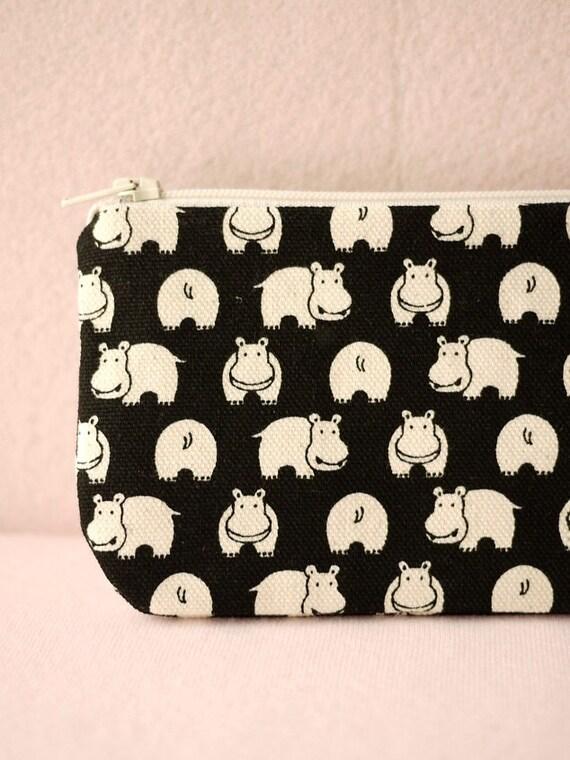 Little Cute Hippo pencil(pen) pouch (Black)