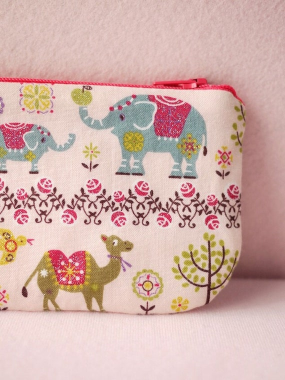 Glitter Camel and Elephant pencil (pen) pouch