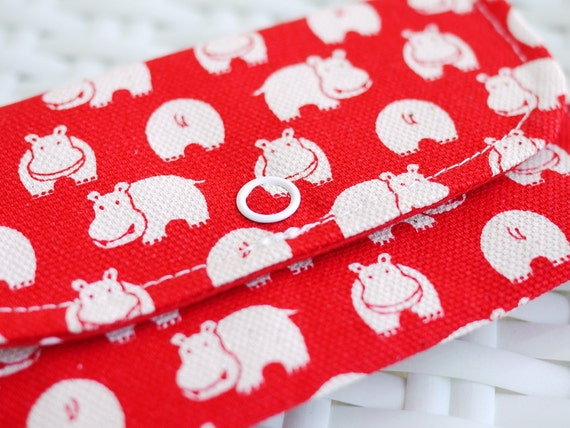 Little Cute Hippo Mini Snap Wallet (Red)