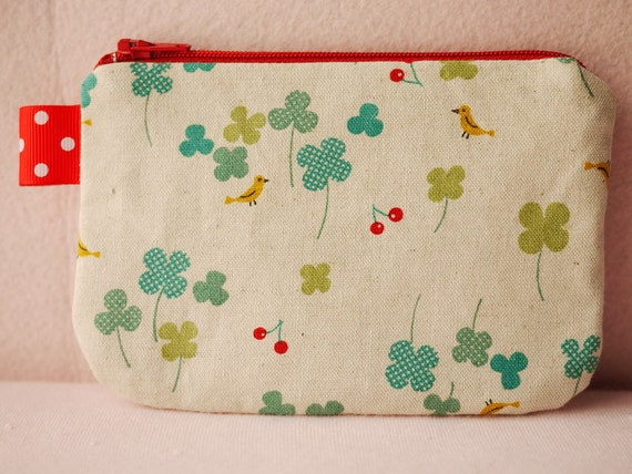 Clover Leaf mini zipper pouch