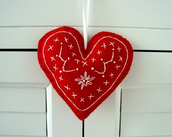 Red Embroidered Heart Felt Ornament Gift Topper
