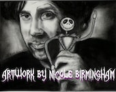 "Portrait Drawing Art Print: ""What Nightmares Are Made of"" - Tim Burton and Jack Skellington Nightmare Before Christmas"