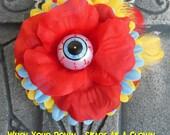 SLASHER SALE Hair Barrette: Dead Girl Decay Freakshow Circus Carnival Side Show Red Blue Yellow Eyeball Flower Feather Horror Halloween