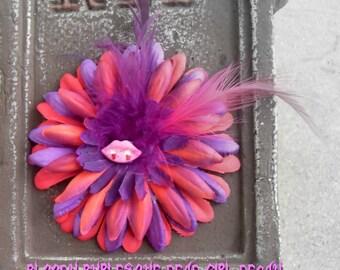 SLASHER SALE Hair Barrette: Dead Girl Decay Bloody Vampire Pink Purple Feather Flower Handmade Accessory