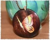 Wood Pendant - Yellow Butterfly on dark maple wood