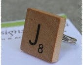 Scrabble Tile Adjustable Ring - Your Initial