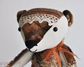 Artist Crazy Quilted Bear Mrs. Amber ooak