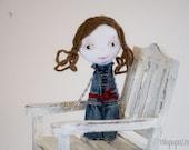 Art Doll Brooch Denim Girl mixed media collage