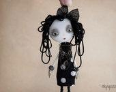 Art Doll Brooch Glamour Gothic Lolita mixed media collage