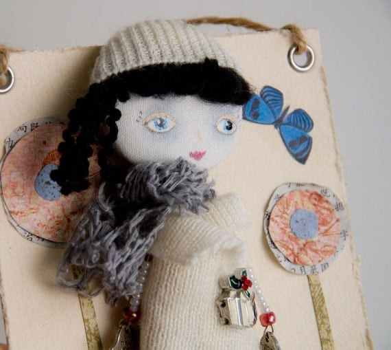 "Art Doll Brooch ""Secret Garden"" mixed media collage"