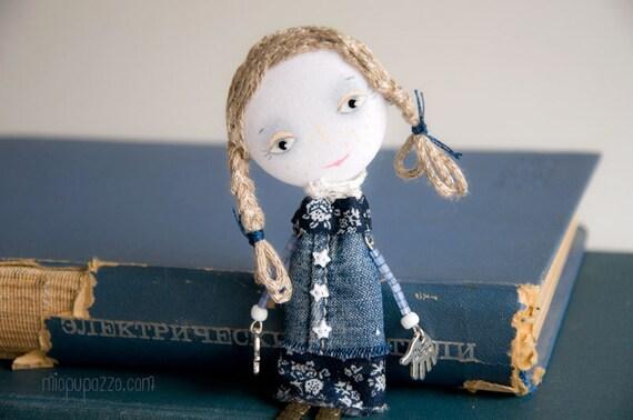 Art Doll Brooch School Girl mixed media collage