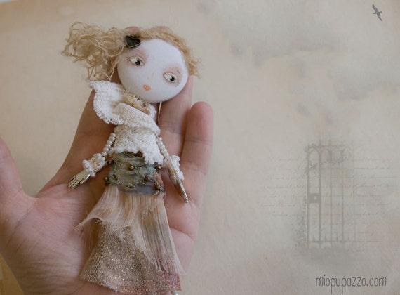 Art Doll Brooch Boho Chic Girl mixed media collage