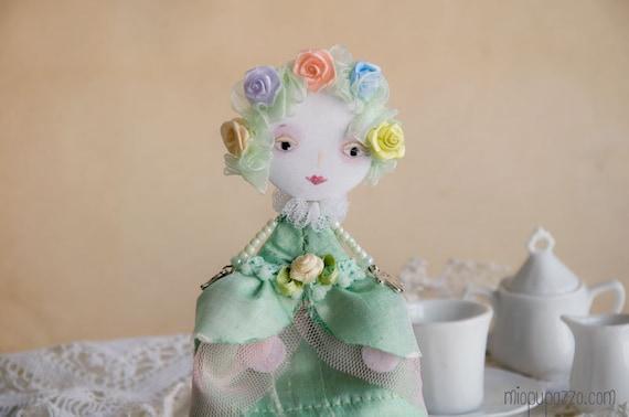 Art Doll Brooch Spring Infanta mixed media collage