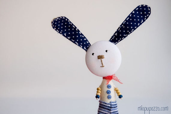 Art Brooch Sailor Bunny mixed media collage