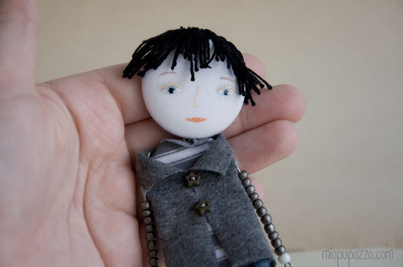 """Art Doll Brooch """"Guy of your dream"""" mixed media collage"""