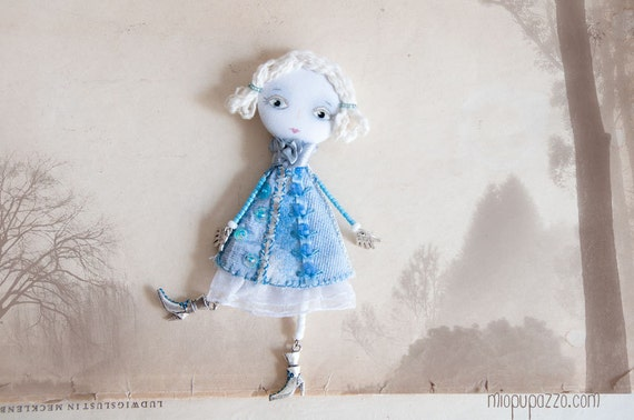 "Art Brooch ""Light Blue Princess loves chocolate"" mixed media collage"