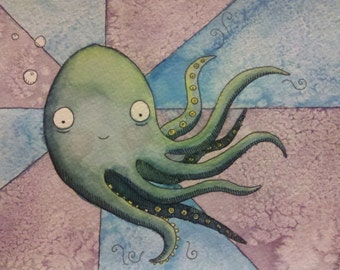Octopus - Original Watercolor Illustration