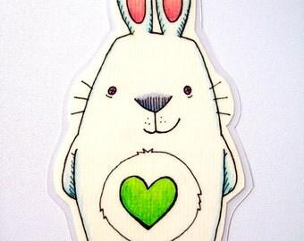 Bookmark or Magnet - White Bunny Rabbit