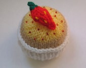 Cupcake Knitting Pattern with choice of toppings and case