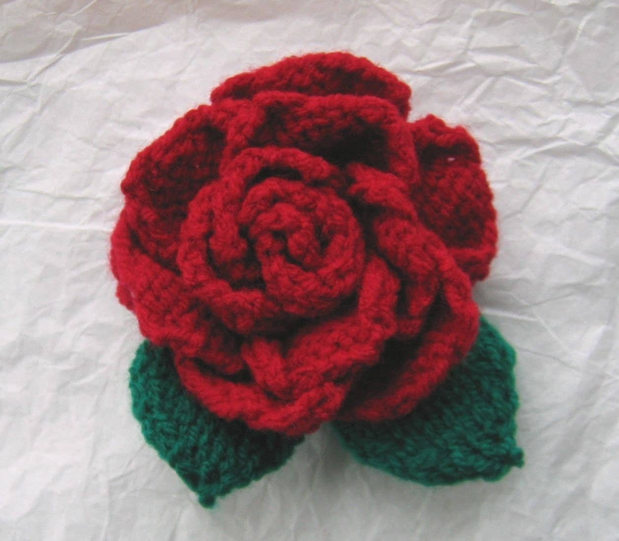 Flower Knitting Patterns Free : Knitting Pattern ROSE flower by email by gigglinggoblin on Etsy