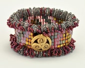 Tutorial Bead Jewelry Making PDF Pattern, Cuff Bracelet, Square Stitch
