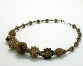 DIY Necklace Kit, Beaded Jewelry Kit, Embellished Plum Blossom Beaded Bead Kit, Licorice and Caramel