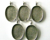 5 Patera Oval Antique Silver Pendant Blanks Bezels Trays Settings Frames for mosaics, resin, polymer clay, photos - made in the USA