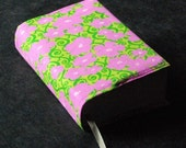 SALE  - HALF PRICE - Book Cover -Prettified Paperbacks Fabric Book Covers-Organic Cotton Floral Green Pink