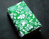 Book Cover - Prettified Paperbacks Fabric Book Covers- Green White Floral, Michael Miller Fabric