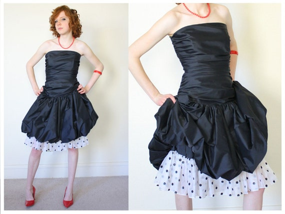 SALE 80s Black Polka Dot Bubble Hem Party Dress - S/M