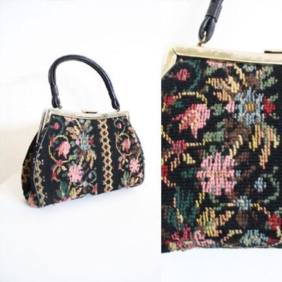 Pink and Black Floral Carpet Bag
