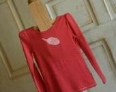 Strawberry and White Medium Girl's Upcycled Acorn Long Sleeve T-Shirt