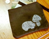 White on Army Green Hedgehog and Toadstool Zip Top Wallet