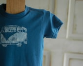 2T Toddler Blue and White Organic VW Bus T-Shirt