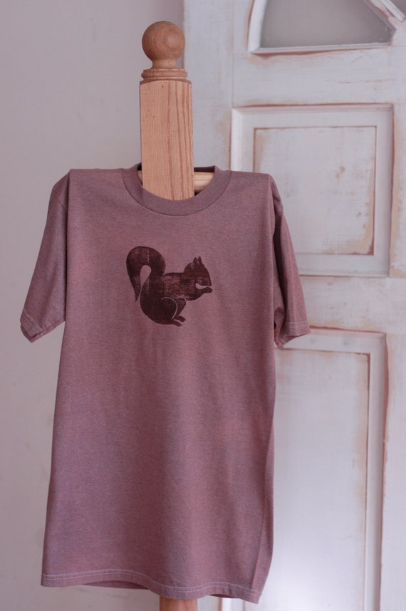 Small Violet and White Upcycled Squirrel T-Shirt