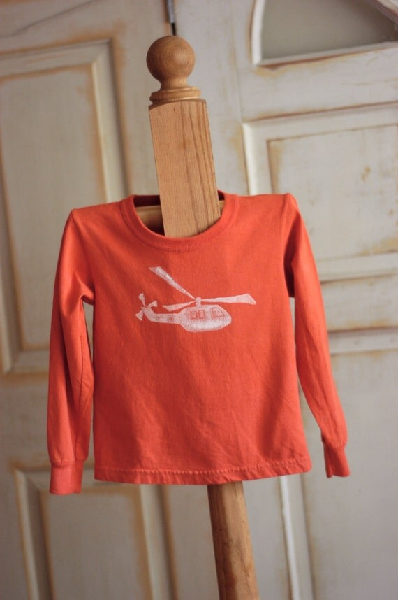 4T Kids Mauve and White Organic Helicopter Long Sleeve Tee