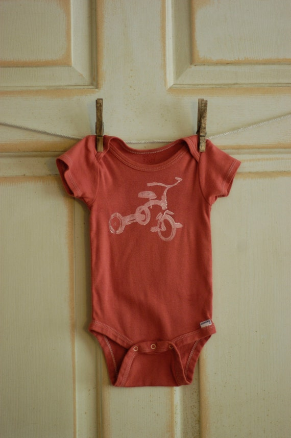 18 Month Vintage Orange & White Infant Upcycled Trike Onesie