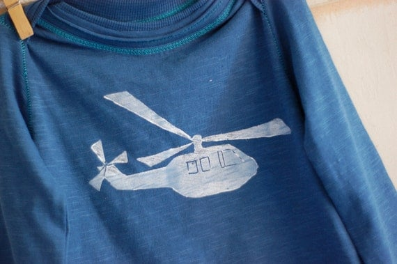 12-18 Month Blue Organic Helicopter Long Sleeve Lap Tee