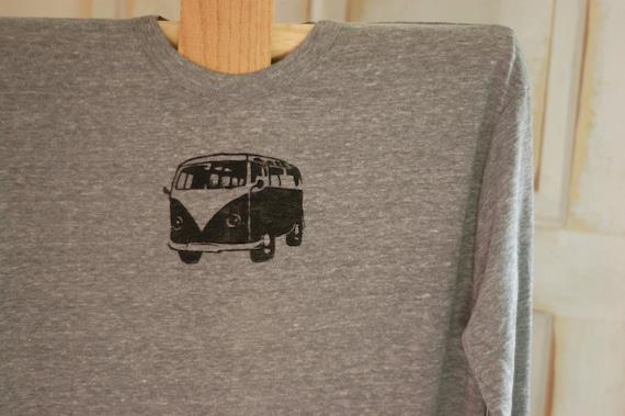 Large Eco Gray and Black Men's VW Long Sleeve T-Shirt