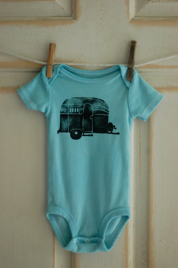 6 Month Infant Upcycled Airstream Onesie