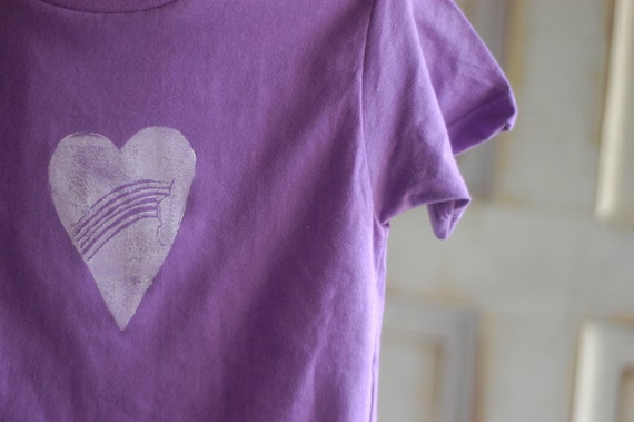 6T Youth Purple and White Organic Rainbow Heart T-Shirt