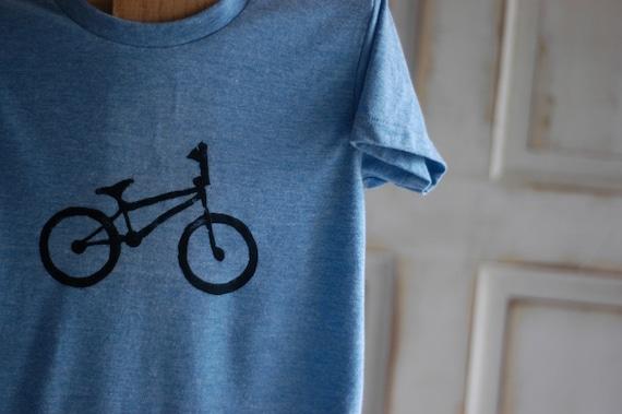 Youth Medium Blue and Black Bike T-Shirt