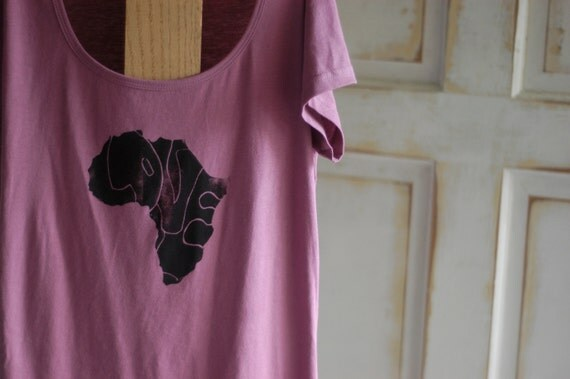 Medium Mauve and Black Women's Organic Africa Love T-Shirt
